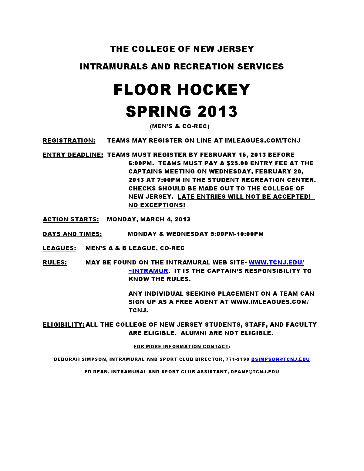 Intramural Sports | Floor Hockey