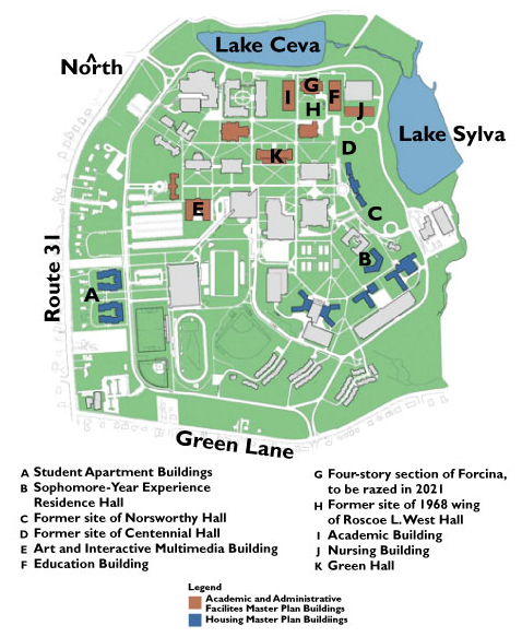 A footprint map of TCNJ's campus as it would look in 2021